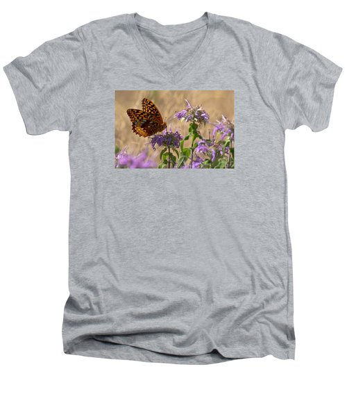 Great Spangled On Bee Balm Men's V-Neck T-Shirt by Shelly Gunderson