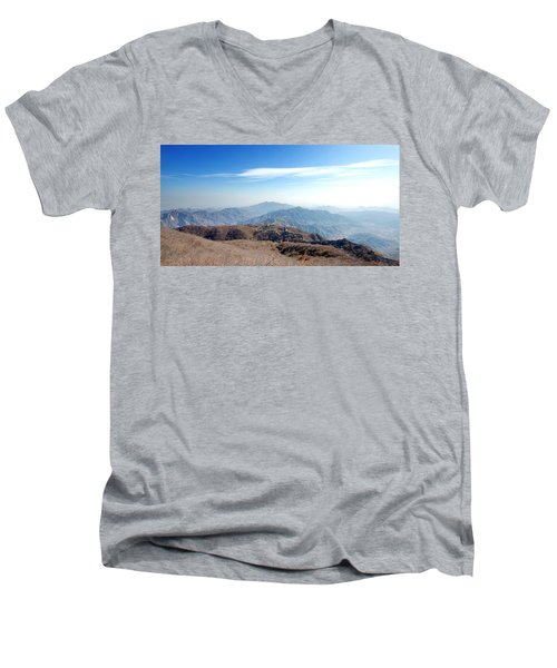 Men's V-Neck T-Shirt featuring the photograph Great Wall Of China - Mutianyu by Yew Kwang