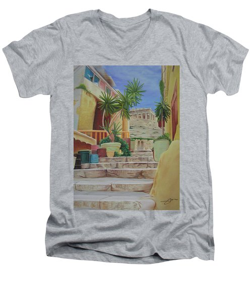 Men's V-Neck T-Shirt featuring the painting Greece by Joshua Morton
