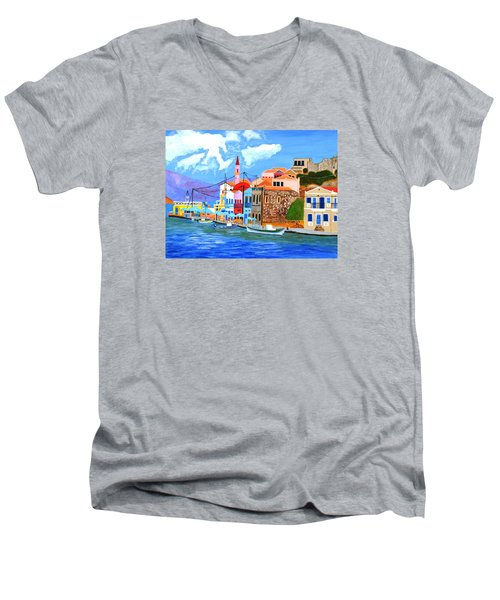 Men's V-Neck T-Shirt featuring the painting Greek Coast by Magdalena Frohnsdorff
