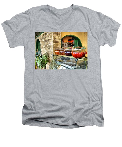 Men's V-Neck T-Shirt featuring the photograph Greek Isle Restaurant Still Life by Mitchell R Grosky