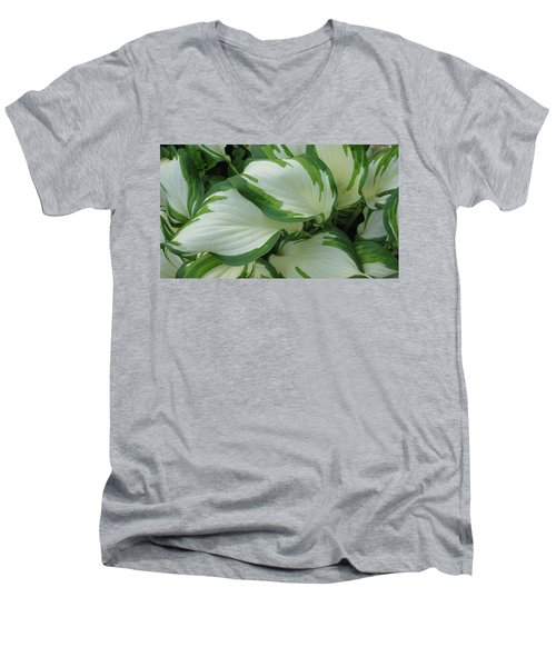 Green And White Men's V-Neck T-Shirt