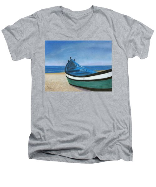 Green Boat Blue Skies Men's V-Neck T-Shirt