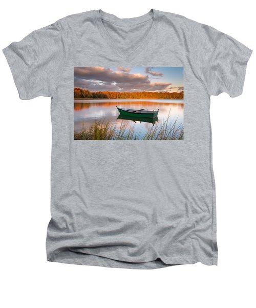 Green Boat On Salt Pond Men's V-Neck T-Shirt