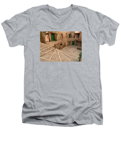 Men's V-Neck T-Shirt featuring the photograph Green Doors by Alan Socolik