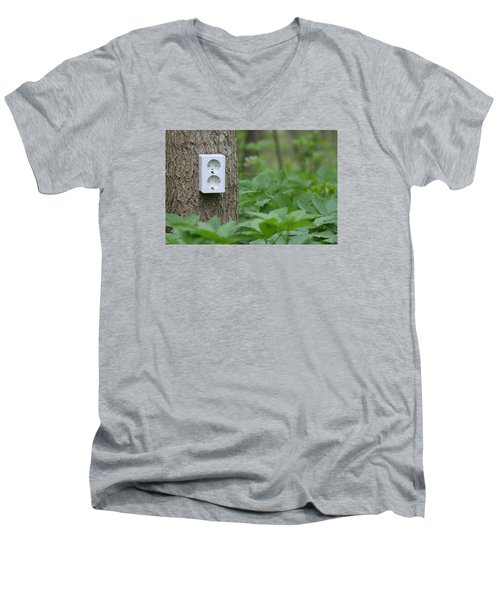Men's V-Neck T-Shirt featuring the photograph Green Electricity by Dreamland Media