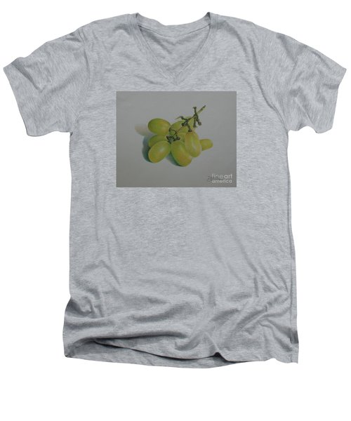 Men's V-Neck T-Shirt featuring the painting Green Grapes by Pamela Clements