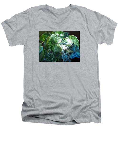 Green Leaves Study Men's V-Neck T-Shirt