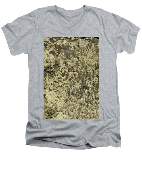 Men's V-Neck T-Shirt featuring the photograph Green Moss by Les Palenik