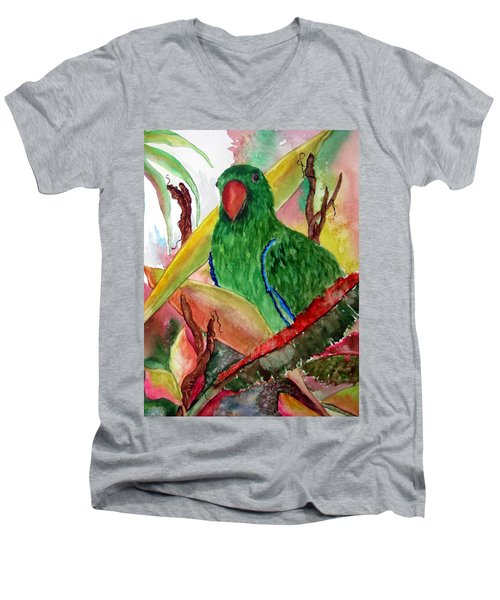 Men's V-Neck T-Shirt featuring the painting Green Parrot by Lil Taylor
