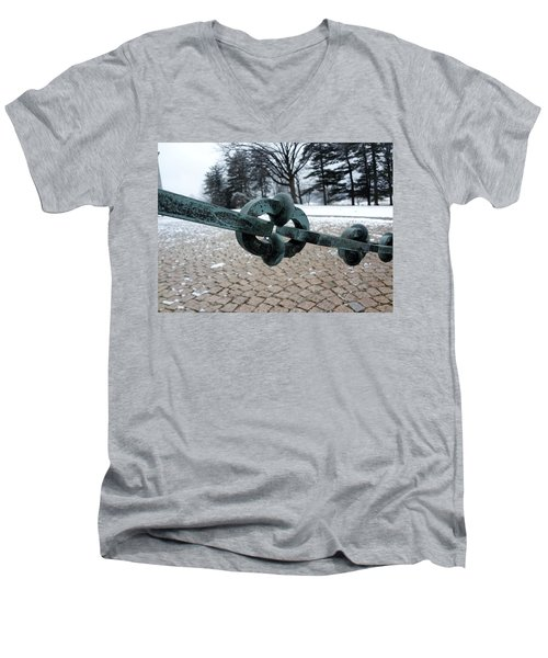 Men's V-Neck T-Shirt featuring the photograph Green Patina by Michael Porchik