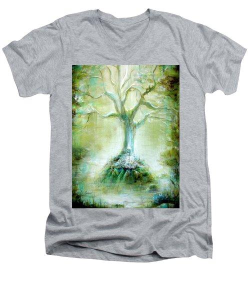 Green Skeleton Meditation Men's V-Neck T-Shirt