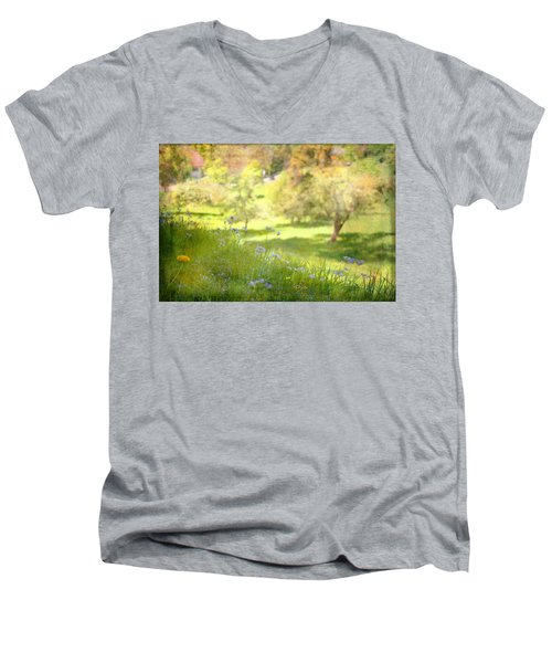 Men's V-Neck T-Shirt featuring the photograph Green Spring Meadow With Flowers by Brooke T Ryan