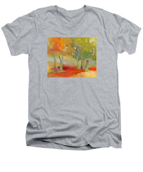 Green Trees Men's V-Neck T-Shirt by Michelle Abrams