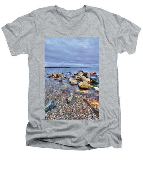 Men's V-Neck T-Shirt featuring the photograph Greenwich Bay by Alex Grichenko