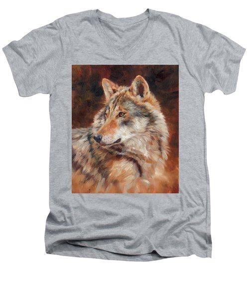 Grey Wolf Portrait Men's V-Neck T-Shirt