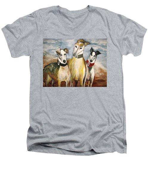 Greyhounds Men's V-Neck T-Shirt by Leslie Manley