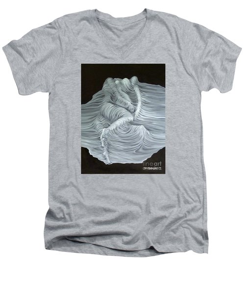 Men's V-Neck T-Shirt featuring the painting Greyish Revelation by Fei A
