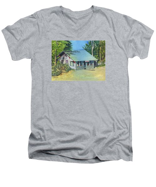 Men's V-Neck T-Shirt featuring the painting Graynook by LeAnne Sowa