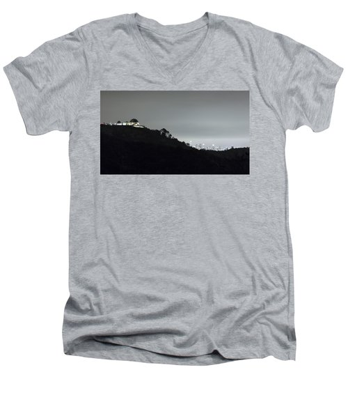 Griffith Park Observatory And Los Angeles Skyline At Night Men's V-Neck T-Shirt