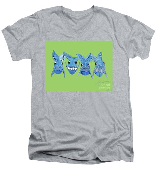 Grinning Fish Men's V-Neck T-Shirt by Lizi Beard-Ward