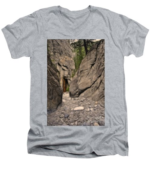 Grotto Canyon Fractal Men's V-Neck T-Shirt