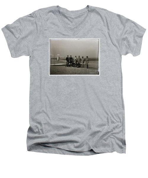 The Wright Brothers Group Portrait In Front Of Glider At Kill Devil Hill Men's V-Neck T-Shirt by R Muirhead Art