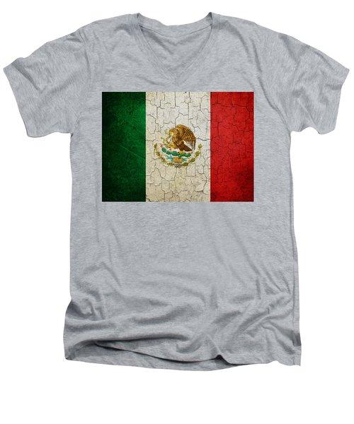 Grunge Mexico Flag Men's V-Neck T-Shirt