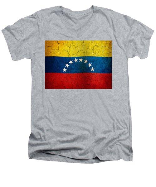 Grunge Venezuela Flag Men's V-Neck T-Shirt