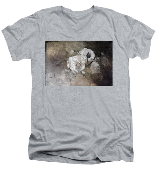Grunge White Rose Men's V-Neck T-Shirt