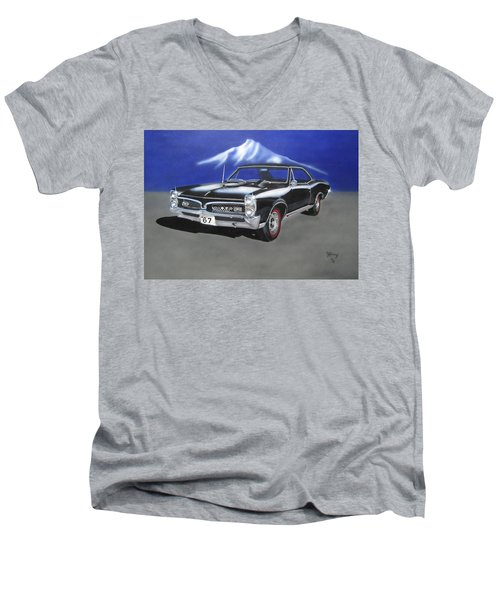 Men's V-Neck T-Shirt featuring the painting Gto 1967 by Thomas J Herring