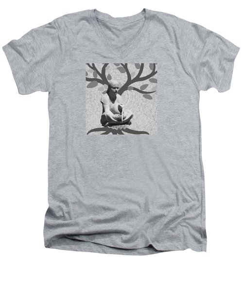 Men's V-Neck T-Shirt featuring the photograph Guardian Of The Tree Of Life by I'ina Van Lawick