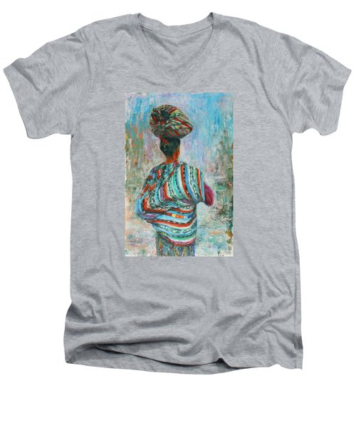 Men's V-Neck T-Shirt featuring the painting Guatemala Impression I by Xueling Zou