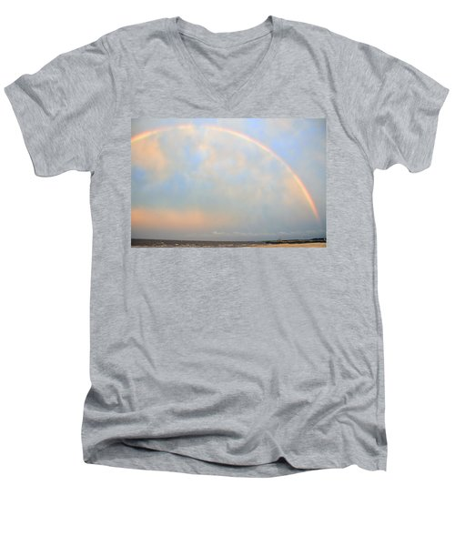 Men's V-Neck T-Shirt featuring the photograph Gulf Coast Rainbow by Charlotte Schafer