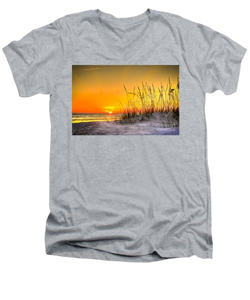 Gulf Sunset Men's V-Neck T-Shirt by Marvin Spates