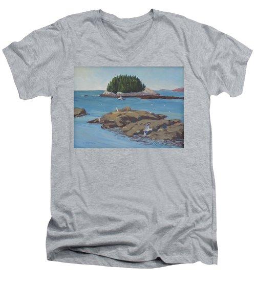 Gulls At Five Islands Men's V-Neck T-Shirt