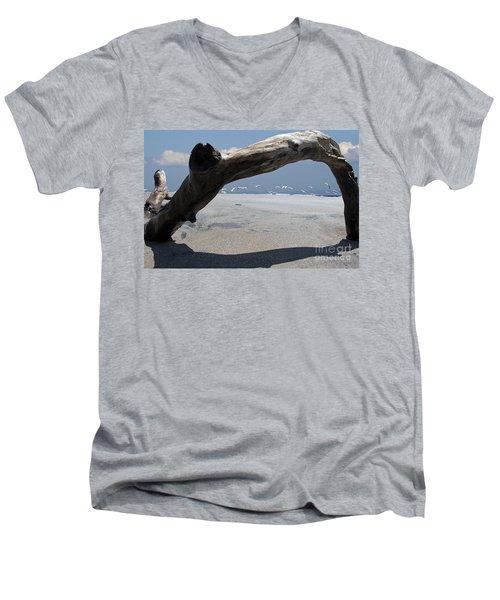 Gulls Away Men's V-Neck T-Shirt by Bob Hislop