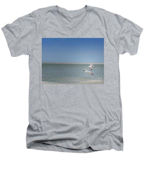 Men's V-Neck T-Shirt featuring the photograph Gulls In Flight by Erika Weber