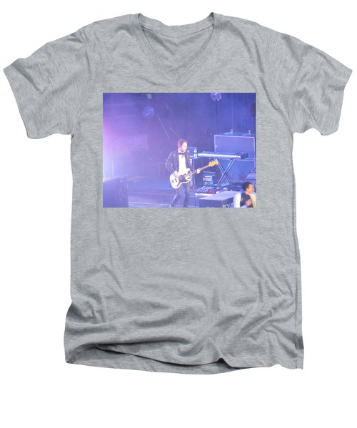 Men's V-Neck T-Shirt featuring the photograph Gutair Player For Royal Taylor by Aaron Martens