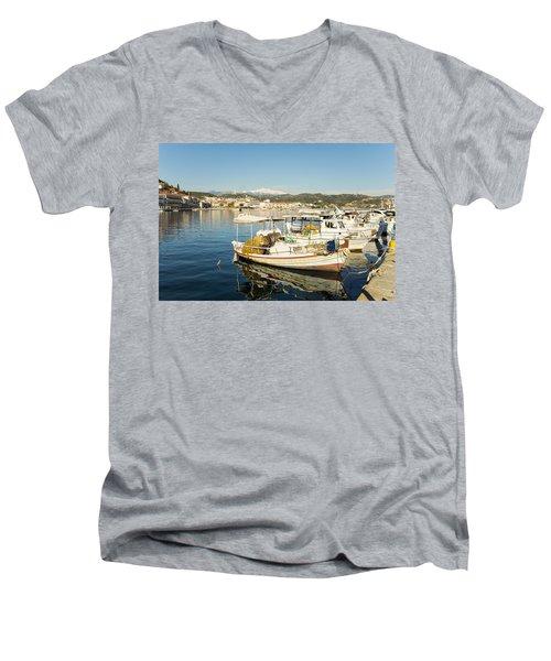 Gytheion Harbour Men's V-Neck T-Shirt