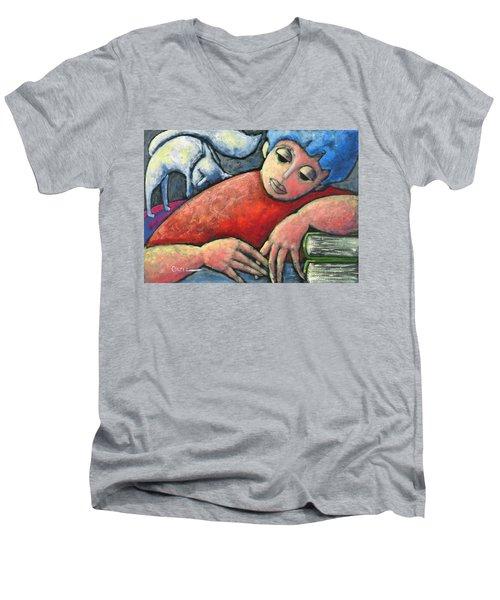 Haciendo Tareas En Mi Cuarto Men's V-Neck T-Shirt