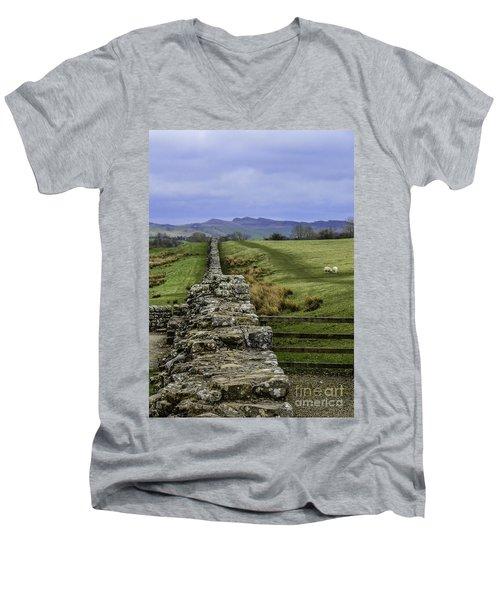 Hadrian's Wall Men's V-Neck T-Shirt by Mary Carol Story