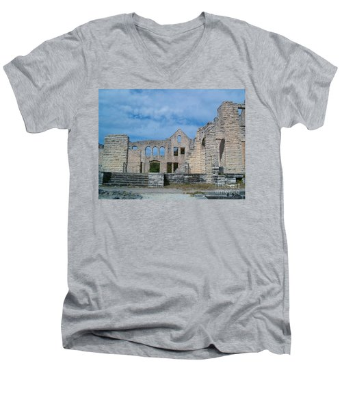 Men's V-Neck T-Shirt featuring the photograph Haha Tonka Castle 1 by Sara  Raber