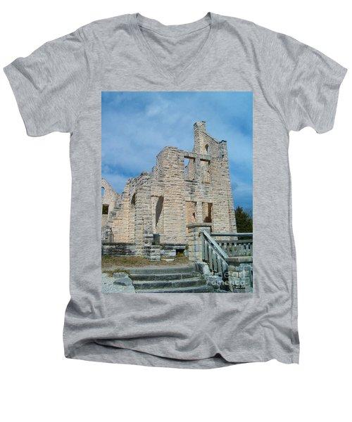 Men's V-Neck T-Shirt featuring the photograph Haha Tonka Castle 2 by Sara  Raber