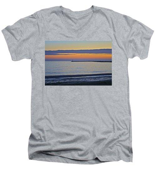 Half Moon Bay Under The Moon At Sunset Men's V-Neck T-Shirt