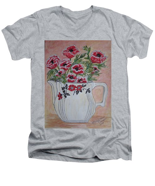 Men's V-Neck T-Shirt featuring the painting Hall China Red Poppy And Poppies by Kathy Marrs Chandler