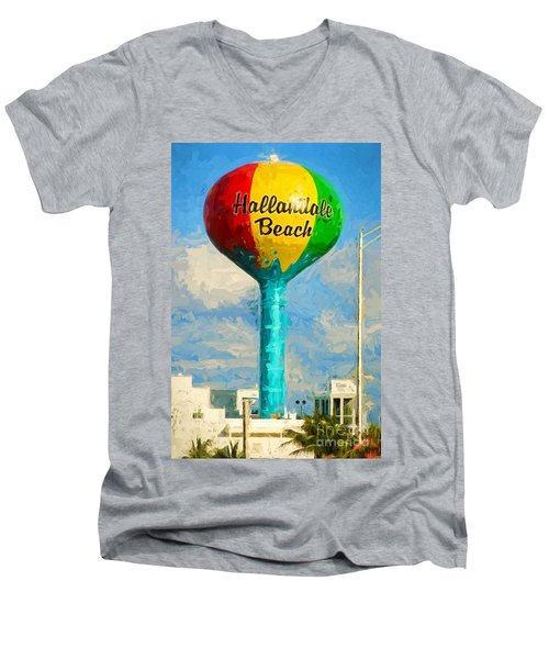 Hallandale Beach Water Tower Men's V-Neck T-Shirt