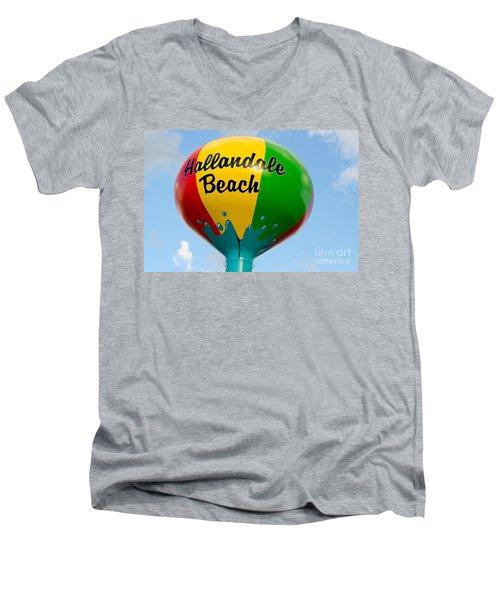 Hallendale Beach Water Tower Men's V-Neck T-Shirt