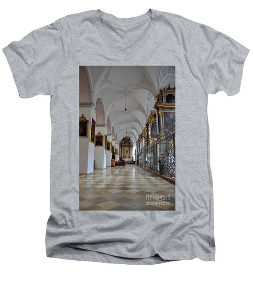 Men's V-Neck T-Shirt featuring the photograph Hallway Of A Church Munich Germany by Imran Ahmed
