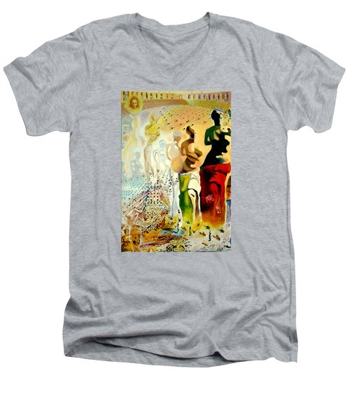 Men's V-Neck T-Shirt featuring the painting Halucinogenic Toreador By Salvador Dali by Henryk Gorecki